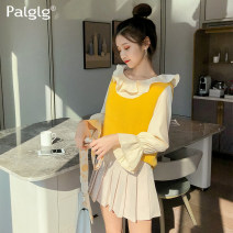 Lace / Chiffon Summer 2020 Champagne S M L Long sleeves commute Socket singleton  easy Regular Crew neck Solid color pagoda sleeve 18-24 years old Palglg 83PT6881a Ruffle fold Korean version Polyester 97% polyurethane elastic fiber (spandex) 3% Pure e-commerce (online only)