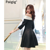 Dress Summer 2020 Black and white S M L Short skirt singleton  elbow sleeve Sweet V-neck High waist Solid color zipper A-line skirt routine Others 18-24 years old Type A Palglg Open back pleated zipper PD6150b More than 95% Chiffon polyester fiber Polyester 100% princess Pure e-commerce (online only)
