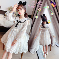 Dress Summer 2020 Off white 110,120,130,140,150,160,170 singleton  Long sleeves Sweet Admiral Solid color Socket Princess Dress Lotus leaf sleeve Others Under 17 Type A Other / other 91% (inclusive) - 95% (inclusive) other cotton