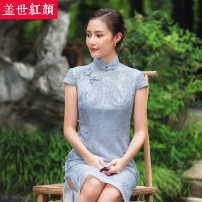 cheongsam Summer of 2018 S ml XL XXL private customization / contact customer service Short sleeve long cheongsam lady High slit banquet Round lapel Decor 25-35 years old Piping Beauty of the world polyester fiber Polyester 100% Same model in shopping mall (sold online and offline) 96% and above