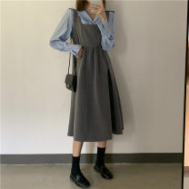 Women's large Winter 2020, autumn 2020 Blue shirt, grey skirt S. M, l, XL, 2XL, 3XL, 4XL, ensure the consistency between the real object and the picture Dress Two piece set commute easy thick Socket Long sleeves Solid color court Polo collar Medium length Three dimensional cutting Lotus leaf sleeve