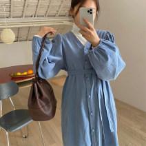 Dress Spring 2021 blue Average size longuette Long sleeves commute V-neck Solid color bishop sleeve Korean version corduroy