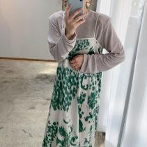 Fashion suit Spring 2021 Average size Grey top, lotus root powder top, green suspender skirt, brown suspender skirt 51% (inclusive) - 70% (inclusive) cotton