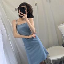 Dress Summer 2020 Light blue, pink Average size Mid length dress singleton  Sleeveless Sweet square neck High waist Solid color Socket other other camisole Other / other other other