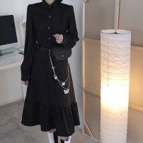 Dress Spring 2021 black M, L Mid length dress singleton  Long sleeves commute Solid color Single breasted Irregular skirt Type A Chiffon cotton