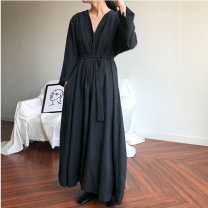 Dress Spring of 2019 Apricot, black Average size longuette Long sleeves commute V-neck Solid color Others 25-29 years old Other / other Retro Bandage