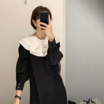 Dress Spring 2021 black Average size longuette other commute other other other other other Korean version other other