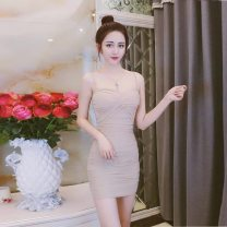 Dress Spring 2020 Black, white, apricot, blue, red S,M,L,XL Short skirt singleton  Sleeveless commute V-neck High waist Solid color Socket One pace skirt other camisole 18-24 years old Korean version Open back, fold, gauze net 81% (inclusive) - 90% (inclusive) brocade