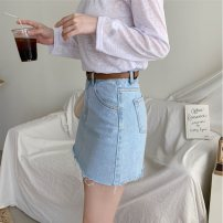 skirt Summer of 2019 XS,S,M,L Light blue, dark blue Short skirt Versatile High waist skirt Solid color Type A 18-24 years old yxgg0009154 91% (inclusive) - 95% (inclusive) Denim cotton Pocket, asymmetric, worn, button, zipper 351g / m ^ 2 (including) - 400g / m ^ 2 (including)