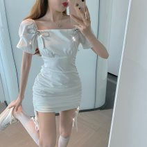 Dress Summer 2021 White, black S,M,L Short skirt singleton  Short sleeve commute square neck High waist Solid color Socket One pace skirt puff sleeve Others 18-24 years old Type A Other / other Korean version bow 31% (inclusive) - 50% (inclusive) other other