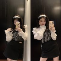shirt White shirt, skirt Average size, s, M Winter 2020 other 31% (inclusive) - 50% (inclusive) Long sleeves commute Short style (40cm < length ≤ 50cm) stand collar Socket other other 18-24 years old Straight cylinder Other / other Korean version