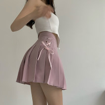 skirt Summer 2021 S,M,L White, black, pink Short skirt Versatile High waist Pleated skirt Solid color Type A 18-24 years old 31% (inclusive) - 50% (inclusive) other Other / other other Lace up, strap, zipper