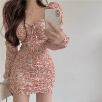 Dress Spring 2021 Floral Dress S,M,L Short skirt singleton  Long sleeves commute V-neck High waist Decor Socket other puff sleeve Others 18-24 years old Type A Other / other Korean version 31% (inclusive) - 50% (inclusive) other other