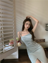 Dress Summer 2021 Gray blue S,M,L Mid length dress singleton  Sleeveless commute other High waist Solid color zipper One pace skirt routine camisole 18-24 years old Type A Other / other Korean version 51% (inclusive) - 70% (inclusive) other other