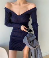 Dress Spring 2021 Apricot, grey, blue, navy Average size Short skirt singleton  Long sleeves commute other High waist Solid color Socket One pace skirt routine Others 18-24 years old Type A Other / other Korean version Splicing 31% (inclusive) - 50% (inclusive) knitting other
