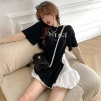 T-shirt White T-shirt, black T-shirt, white skirt, black skirt Average size Summer 2021 Short sleeve Crew neck easy Regular routine commute other 51% (inclusive) - 70% (inclusive) 18-24 years old Korean version youth Other / other
