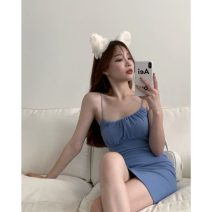 Dress Summer 2021 White, blue, black Average size Short skirt singleton  Sleeveless commute One word collar High waist Solid color Socket One pace skirt other camisole 18-24 years old Type A Other / other Korean version 31% (inclusive) - 50% (inclusive) other other
