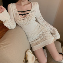 Dress Spring 2021 White dress with apricot sling Average size Short skirt singleton  Long sleeves commute other High waist Solid color Socket other routine Others 18-24 years old Type A Other / other Korean version Hollowing out 31% (inclusive) - 50% (inclusive) Lace other
