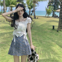 shirt White coat , Pleated skirt S, M Summer 2021 other 51% (inclusive) - 70% (inclusive) Short sleeve commute Short style (40cm < length ≤ 50cm) other Single row multi button routine Solid color 18-24 years old Self cultivation Other / other Korean version