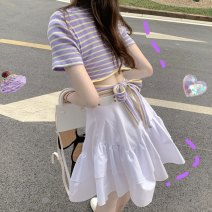 T-shirt Striped top, white skirt Average size Spring 2021 Short sleeve Crew neck Self cultivation have cash less than that is registered in the accounts routine commute other 51% (inclusive) - 70% (inclusive) 18-24 years old Korean version other Other / other