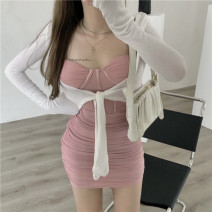 Dress Summer 2021 White sun shirt, pink dress S. M, l, average size Short skirt Two piece set Sleeveless commute One word collar High waist Solid color Socket One pace skirt other camisole 18-24 years old Type A Other / other Korean version 51% (inclusive) - 70% (inclusive) other other