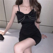 Dress Summer 2021 black S,M,L Short skirt singleton  Sleeveless commute other High waist other Socket One pace skirt routine camisole 18-24 years old Type A Other / other Korean version 51% (inclusive) - 70% (inclusive) other other