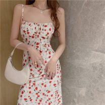 Dress Summer 2021 Picture color S,M,L Mid length dress singleton  Sleeveless commute other High waist Broken flowers Socket One pace skirt other camisole 18-24 years old Type A Other / other Korean version 31% (inclusive) - 50% (inclusive) other other