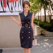 Dress Summer 2020 Black, dark blue S,M,L,XL Mid length dress singleton  Sleeveless commute tailored collar middle-waisted Solid color double-breasted One pace skirt routine Others 25-29 years old Type H Korean version 81% (inclusive) - 90% (inclusive) brocade nylon