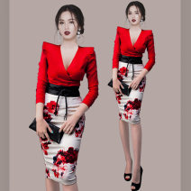 Dress Autumn 2020 gules S,M,L,XL Mid length dress Two piece set Long sleeves commute V-neck High waist Decor zipper One pace skirt routine Others 25-29 years old Type H Ol style Bowknot, lace up, stitching, printing 81% (inclusive) - 90% (inclusive) brocade Cellulose acetate
