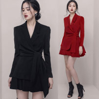 Professional dress suit S,M,L,XL Black, red Autumn 2020 Long sleeves loose coat Pleated skirt 25-35 years old 51% (inclusive) - 70% (inclusive) polyester fiber