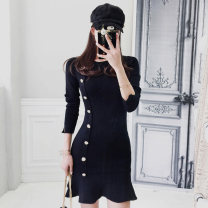 Dress Autumn of 2019 black Average size Short skirt singleton  Long sleeves commute Crew neck middle-waisted Solid color Socket Ruffle Skirt routine Others 18-24 years old Type A Korean version Ruffles, stitching, buttons 81% (inclusive) - 90% (inclusive) knitting polyester fiber