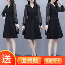 Dress Spring 2021 Black long sleeves, black short sleeves M,L,XL,2XL,3XL,4XL,5XL Mid length dress singleton  Long sleeves commute High waist Solid color Socket routine Others Other / other Korean version Splicing 1-1WL