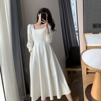 Dress Spring 2021 white S,M,L,XL Mid length dress singleton  Long sleeves commute square neck High waist Solid color Socket Big swing routine Type A FT GUOGE Korean version Splicing, three-dimensional decoration G008324