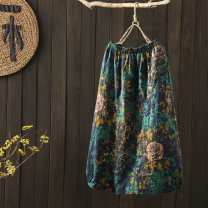 skirt Autumn 2020 Spring and autumn double layer cotton yarn, winter plus cotton yarn 1,2,3,4,5,6,7,8,9,10,11,12,13 longuette Retro High waist A-line skirt Decor Type A 40-49 years old other cotton printing