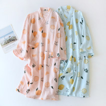Nightgown / bathrobe Other / other female 165(M),170(L) Pink cartoon lemon crepe Nightgown, white cartoon lemon crepe Nightgown, blue cartoon lemon crepe nightgown Thin money Simplicity cotton spring More than 95% Medium length (knee to Mid Calf) Plants and flowers youth printing