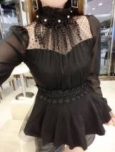 Lace / Chiffon Fall 2017 S M L White Red Black Long sleeve sweet Sleeve Conventional models Single Self-cultivation Standing collar Pure color princess
