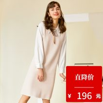 Dress Autumn 2020 Apricot XS,S,M,L longuette Fake two pieces Long sleeves commute Polo collar Socket other routine 25-29 years old Type H Hundred pictures Ol style 2010T69 other