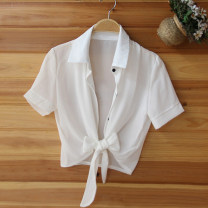 Lace / Chiffon Summer 2020 M, L Short sleeve commute Cardigan singleton  Self cultivation Regular Polo collar Solid color routine 18-24 years old Apricot Butterfly Bow, tie, tie, button Korean version 96% and above