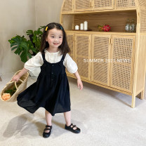 suit Yi Ma White coat , Black suspender skirt 80cm,90cm,100cm,110cm,120cm,130cm,140cm,150cm female summer Korean version Short sleeve + skirt 2 pieces Thin money There are models in the real shooting Socket nothing Solid color cotton Shopping Cotton 90% other 10% Chinese Mainland