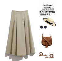 skirt Spring 2021 Average size Mid length dress Versatile High waist A-line skirt Solid color Type A 81% (inclusive) - 90% (inclusive) other pocket