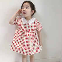 Dress Pink female Other / other 80cm,90cm,100cm,110cm,120cm,130cm Other 100% summer Korean version Short sleeve lattice other Princess Dress 18 months, 2 years old, 3 years old, 4 years old, 5 years old, 6 years old, 7 years old, 8 years old Chinese Mainland