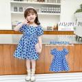 Dress blue female Other / other 90cm,100cm,110cm,120cm,130cm,140cm,150cm,160cm Other 100% summer Korean version Short sleeve Broken flowers other A-line skirt 7 years old, 8 years old, 3 years old, 6 years old, 18 months old, 2 years old, 5 years old, 4 years old Chinese Mainland