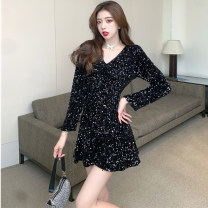 Dress Winter 2020 Champagne, black S,M,L Short skirt singleton  Long sleeves commute V-neck High waist other Socket routine 25-29 years old Sequins More than 95% other other
