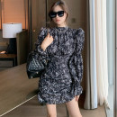 Dress Winter 2020 Apricot, black S,M,L Short skirt singleton  Long sleeves commute Crew neck High waist Broken flowers Socket pagoda sleeve 25-29 years old fold More than 95% other other