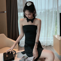 Dress Summer 2020 black S,M,L Short skirt singleton  Sleeveless commute One word collar High waist Solid color Socket One pace skirt other Breast wrapping Type A Open back, zipper 81% (inclusive) - 90% (inclusive) other other