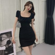 Dress Summer 2021 Black, fruit green S,M,L Short skirt singleton  Short sleeve commute square neck High waist Solid color Socket One pace skirt routine Others T-type Other / other Korean version Stitching, pleating 81% (inclusive) - 90% (inclusive) other cotton