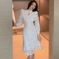 Dress Spring 2021 white S,M,L longuette singleton  Long sleeves commute stand collar High waist Solid color A button other 25-29 years old Cut out, lace More than 95% Lace other