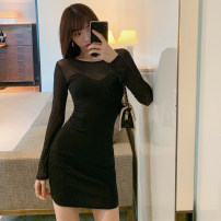 Dress Autumn 2021 black S,M,L Short skirt singleton  Long sleeves commute Crew neck High waist Solid color Socket One pace skirt routine Others Type A Splicing 31% (inclusive) - 50% (inclusive) other other