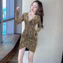 Dress Autumn 2020 Red, silver, yellow S,M,L Short skirt singleton  Long sleeves commute V-neck High waist stripe Socket Irregular skirt routine 25-29 years old Korean version fold More than 95% other other