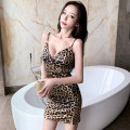 Dress Summer 2020 Leopard Print S,M,L Short skirt singleton  Sleeveless commute V-neck middle-waisted Leopard Print Socket One pace skirt routine camisole 25-29 years old Type A backless More than 95% other other